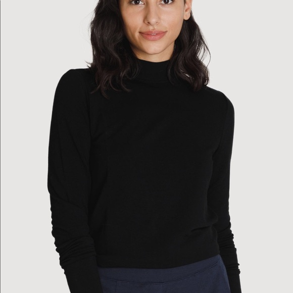 8a6c348f53c592 Kit and Ace Tops | Brushed Mock Neck Long Sleeve In Black | Poshmark
